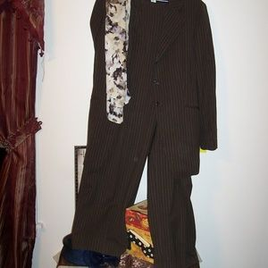 VINTAGE JONES NY BROWN PIN STRIPE 2PC SUIT 16